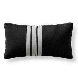 Blanket Stripe Onyx Outdoor Lumbar Pillow by Martyn