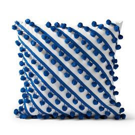 Pom-Pom Crossing Cobalt Outdoor Pillow
