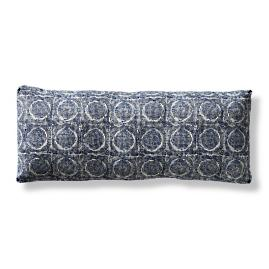 Etched Graphic Indigo Boxed Outdoor Lumbar Pillow