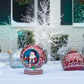 Fiber Optic LED Santa Ball Ornament