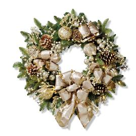 "Gilded Elegance Cordless Outdoor 30"" Wreath"
