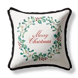 Handpainted Holly Indoor/Outdoor Pillow