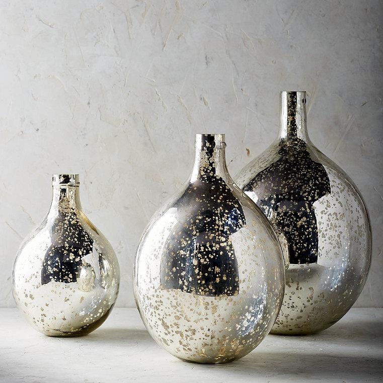 Carmela Mercury Glass Vessels, Set of Three