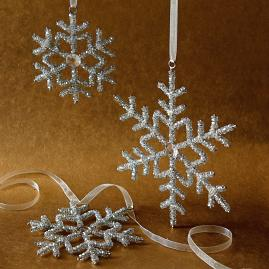Beaded Snowflake Ornaments, Set of 12