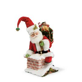Santa Climbing into Chimney Tree Topper