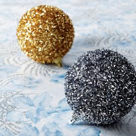 Textured Beaded Ball Ornaments, Set of 12