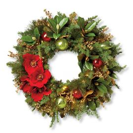 "Christmas Tidings 32"" Cordless Wreath"