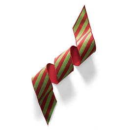 Red and Green Striped Ribbon