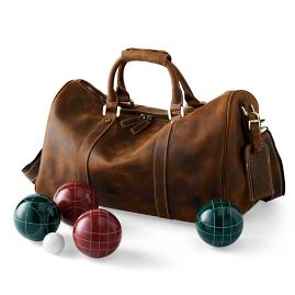 Leather Bocce Ball Set