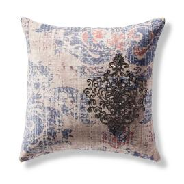 Distressed Beaded Damask Decorative Pillow
