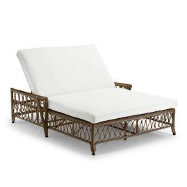 Myla Double Chaise with Cushions in Umber Finish