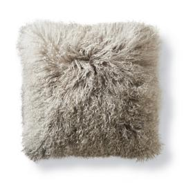 Mongolian Fur Decorative Square Pillow Cover in Silver