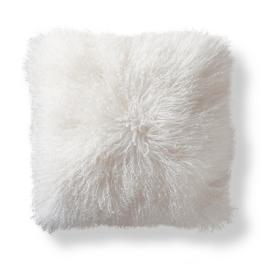 Mongolian Fur Decorative Square Pillow Cover in White