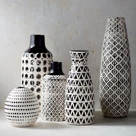 Chiara Ceramic Vase Collection, Set of Five