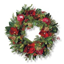 "Rustic Ruby Cordless Outdoor 30"" Wreath"