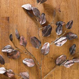 "Bronze Glitter 37"" Eucalyptus Leaf Stems, Set of"