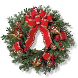 "Christmas Celebration Cordless Outdoor 30"" Wreath"