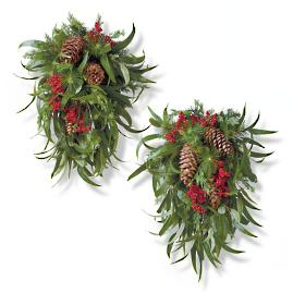 "Holiday Highland Outdoor 28"" Teardrop Swags, Set of"