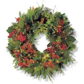 "Holiday Glen Indoor 34"" Wreath"