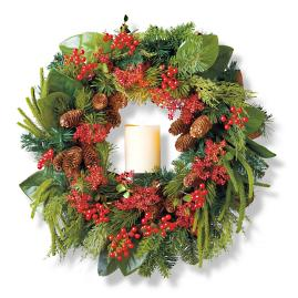 "Holiday Glen Indoor 28"" Window Wreath"
