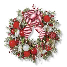 "Frosted Holiday Cordless Outdoor 30"" Wreath"