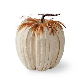 Pleated Rustic Pumpkin with Feathers