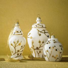 Gilded Blossoms Ginger Jar Ornaments, Set of Six