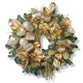 "Precious Metals Indoor Cordless 34"" Wreath"