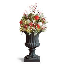 "Frosted Holiday Cordless Outdoor 34"" Urn Filler"