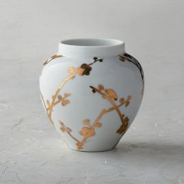 Gilded Blossoms Small Open Round Vase