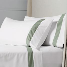Resort Border Frame Egyptian Cotton Percale Pillowcases, Set
