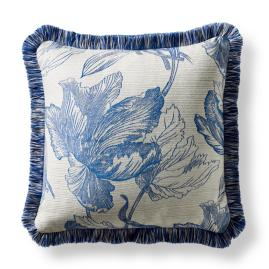 Amrita Blossom Square Outdoor Pillow in Cobalt