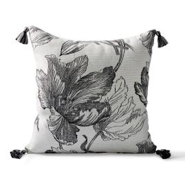 Amrita Blossom Square Outdoor Pillow in Onyx