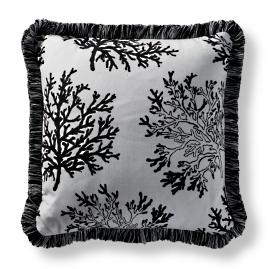 Floating Coral Square Indoor/Outdoor Pillow - Onyx