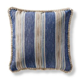Sunja Stripe Square Outdoor Pillow in Indigo