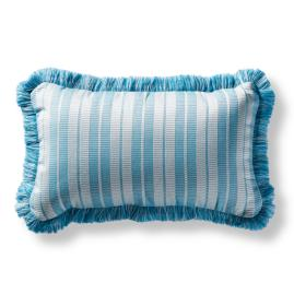 Maxim Stripe Fringed Lumbar Indoor/Outdoor Pillow - Aruba