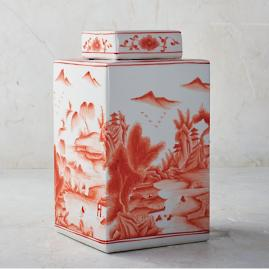 Coral Ming Tall Rectangular Lidded Jar