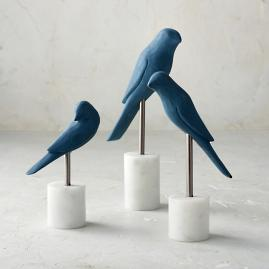 Perched Bird Statues, Set of Three