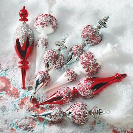 Frosted Holiday Finial Ornament Collection, Set of 8