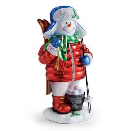 "LED 29½"" Fiber Optic Snowman Holding Skis"