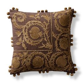 Gilded Pomegranates Embroidered Decorative Pillow Cover