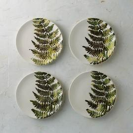 Felce Italian Ceramic Salad Plates, Set of Four
