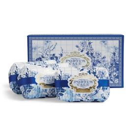 Portus Cale Gold & Blue Three-piece Soap Set