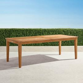 Chevron Teak Expandable Dining Table