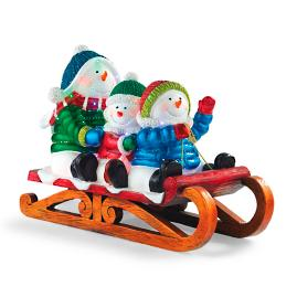 "LED 24"" Fiber-optic Snowmen on Sled"