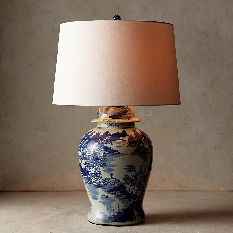 Blue and White Ming Table Lamp with Linen Shade