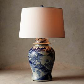 Blue and White Ming Table Lamp with Linen