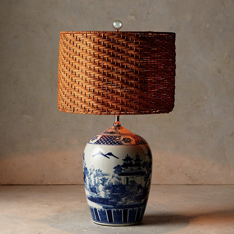 Blue and White Ming Table Lamp with Wicker Shade
