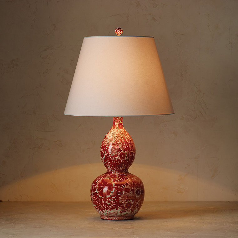 Coral Ming Double Gourd Table Lamp with Ivory Linen Shade