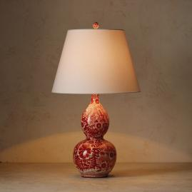 Coral Ming Double Gourd Table Lamp with Ivory